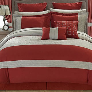 Chic Home Hubert Red/ Grey 25-piece Bed-in-a-Bag - Thumbnail 0