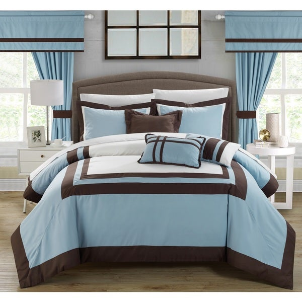 Chic Home 20-piece Christofle-pieced Blue Color Blocked Comforter Set