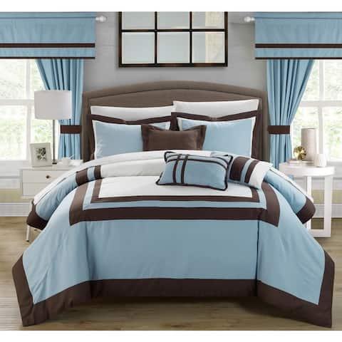 Copper Grove Minesing 20-piece Blue Color Blocked Comforter Set