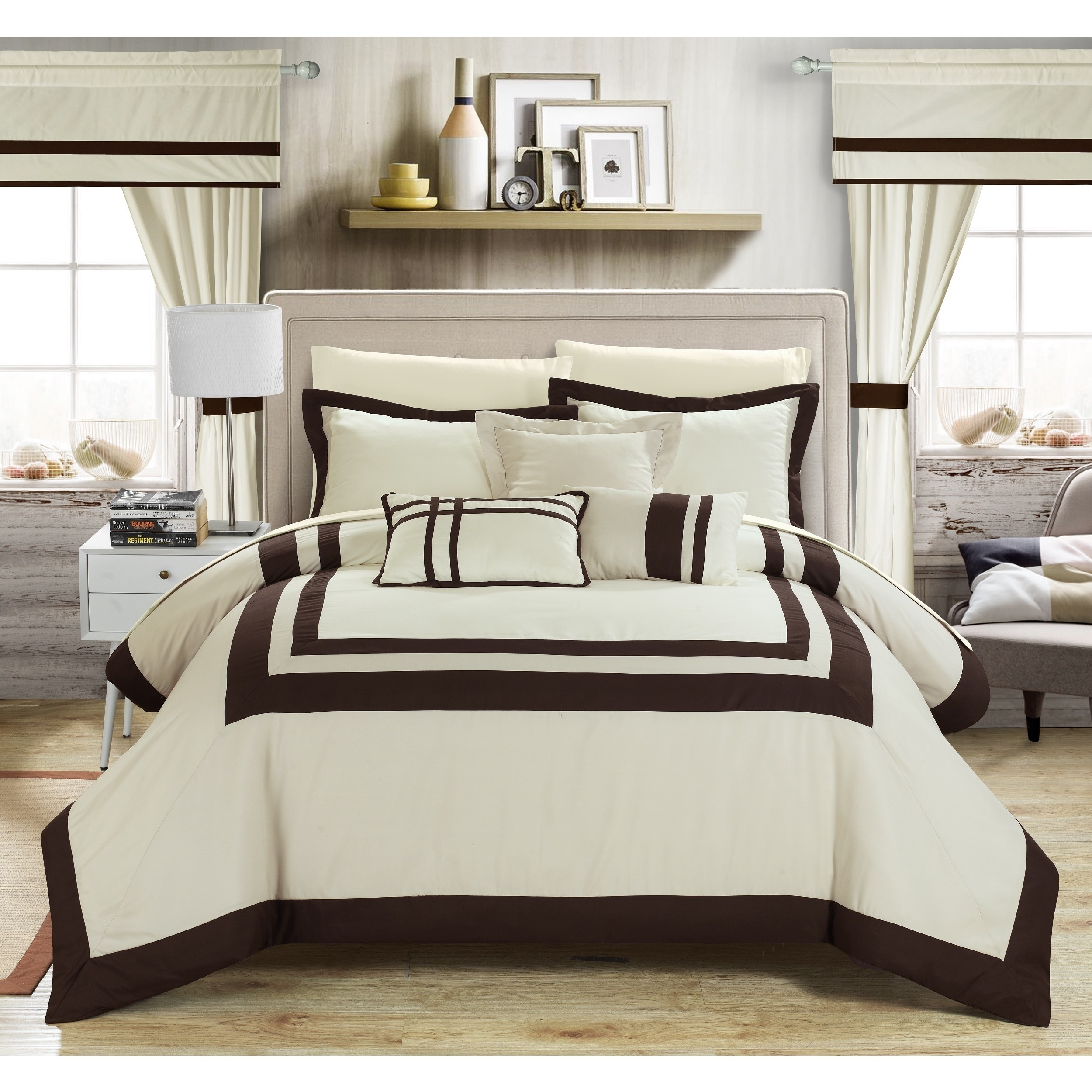 Chic Home 20-piece Christofle-pieced Color Blocked Comforter Set