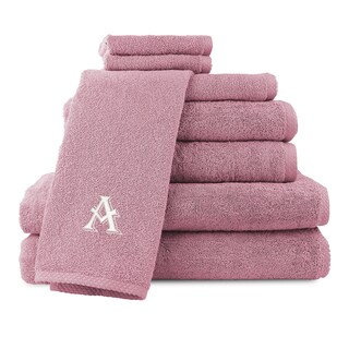Caldridge 100-percent Turkish Cotton Embroidered 8-piece Towel Set - Blush