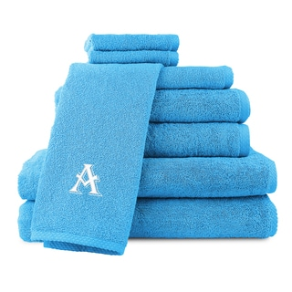 Caldridge 100-percent Turkish Cotton Embroidered 8-piece Towel Set - Aqua