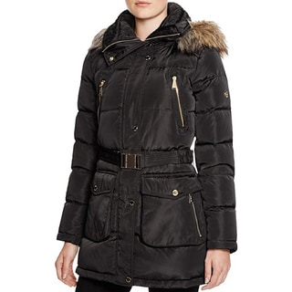 Michael Michael Kors Women's Black Down Belted Puffer Coat