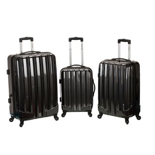 Rockland Black Fiber 3-piece Hardside Spinner Upright Luggage Set