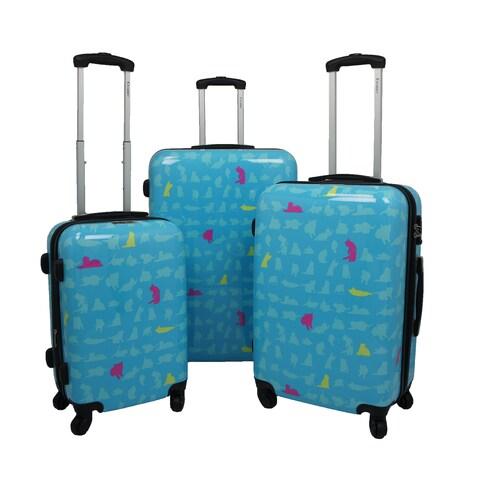 Chariot Summer Cat 3-piece Hardside Lightweight Upright Spinner Luggage Set