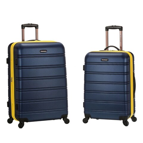 Rockland Navy/ Yellow 2-piece Expandable Hardside Spinner Upright Luggage Set