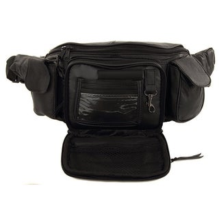 Extra Large Size Leather Waist Hip Lumbar Fanny Pack With Multiple Pockets and Smartphone Size Compartments