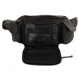 Extra Large Size Leather Waist Hip Lumbar Fanny Pack With Multiple Pockets  and Smartphone Size Compartments 8c575a7d2d