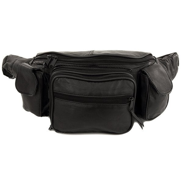 not patch Fanny Pack Leather Waist Pack 6 Pocket Genuine Solid Large adjustable strap