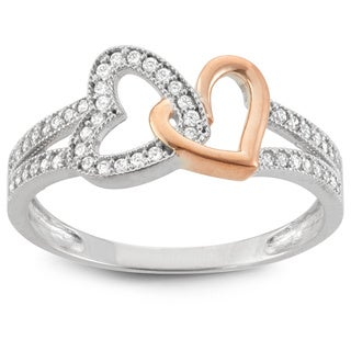 Gioelli 10k Gold Cubic Zirconia Interlocking Hearts Ring