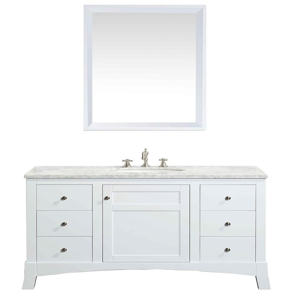 Shop Eviva New York 48-inch White Bathroom Vanity, with White Marble Carrera Counter-top, & Sink - On Sale - Free Shipping Today - Overstock - 10680812