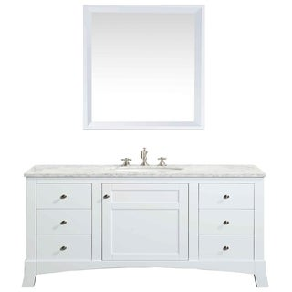 Eviva New York 48-inch White Bathroom Vanity, with White Marble Carrera Counter-top, & Sink