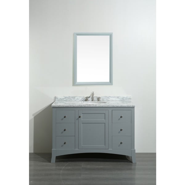 Shop Eviva New York Inch Grey Bathroom Vanity With White Marble - 48 inch grey bathroom vanity