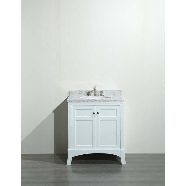 shop eviva new york 30 inch white bathroom vanity with white marble rh overstock com 30 inch white shaker bathroom vanity 30 inch white bathroom vanity without top