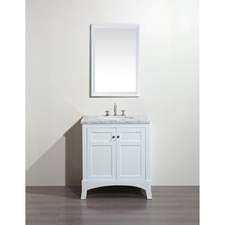 Eviva New York 30-inch White Bathroom Vanity, with White Marble Carrera Countertop, Sink