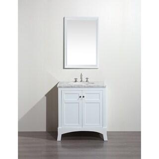 Eviva New York 30-inch White Bathroom Vanity, with White Marble Carrera Countertop, Sink