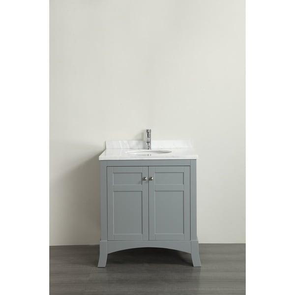 Eviva new york 30 inch grey bathroom vanity with white - 30 inch white bathroom vanity with sink ...