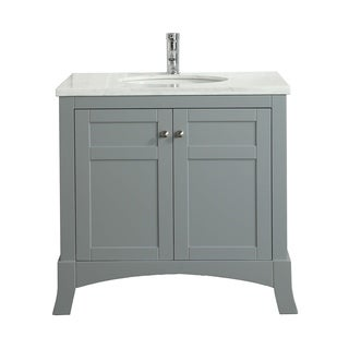 Eviva New York 30-inch Grey Bathroom Vanity, with White Marble Carrera Countertop, Sink