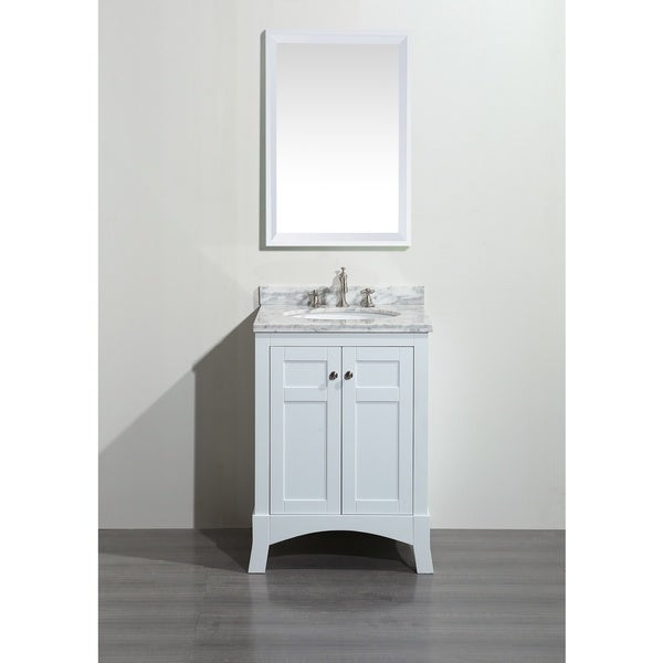 Shop Eviva New York 24 Inch White Bathroom Vanity With White Marble