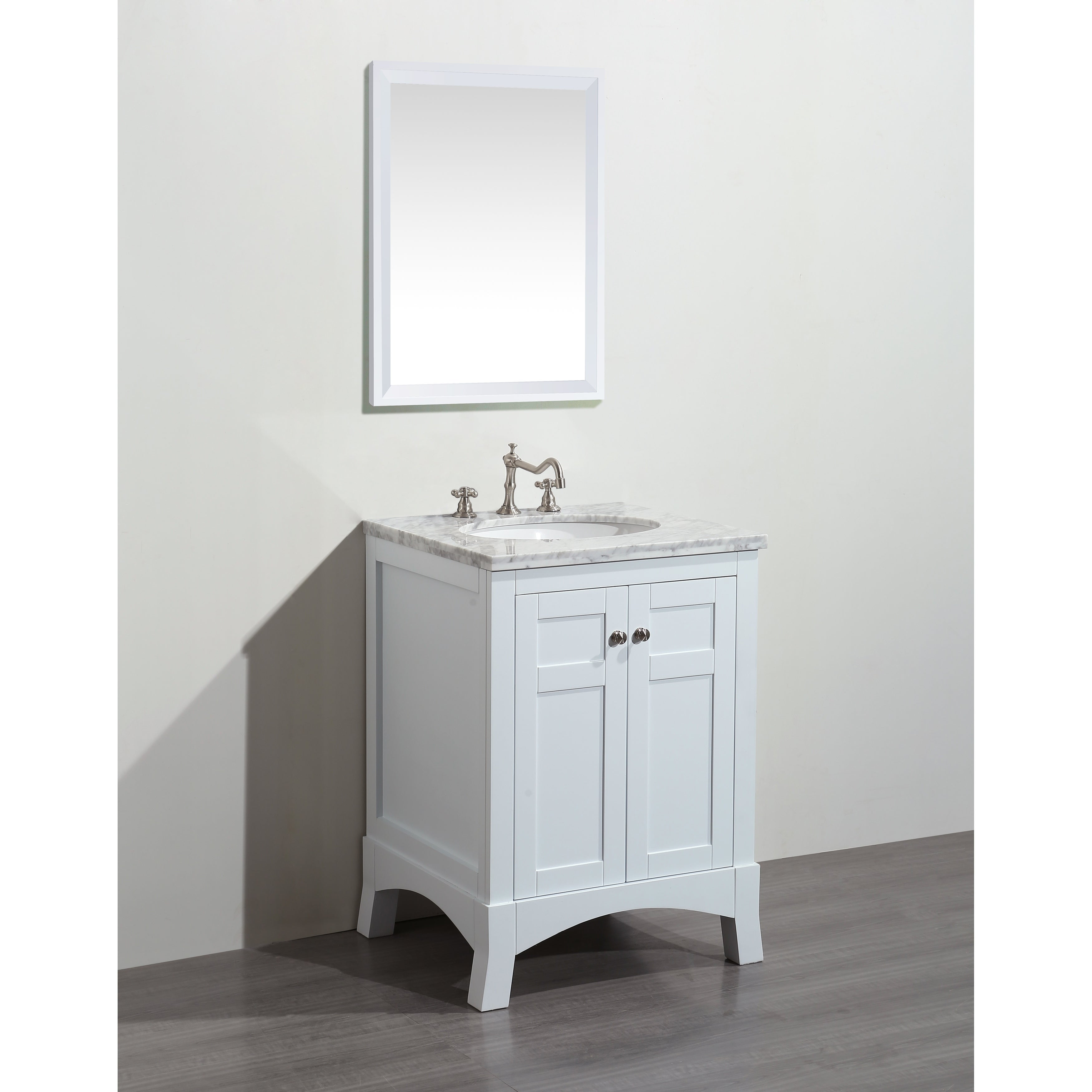 Eviva New York 24 Inch White Bathroom Vanity With Marble Carrera Countertop Sink