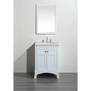 Eviva New York 24-inch White Bathroom Vanity, with White Marble Carrera Countertop, Sink