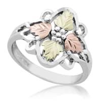 Black Hills Gold on Silver 4-leaf Ring