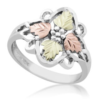 Black Hills Gold on Silver 4-leaf Ring