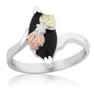 black hills gold on silver onyx ring - Black Onyx Wedding Ring