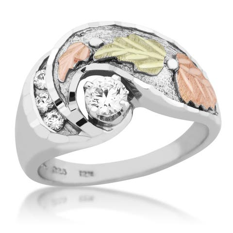 Black Hills Gold on Silver Cubic Zirconia Ring