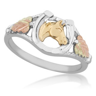 Black Hills Gold on Silver Horse Ring
