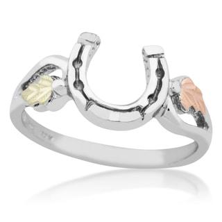 Black Hills Gold on Silver Horseshoe Ring