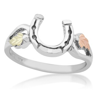Black Hills Gold on Silver Horseshoe Ring