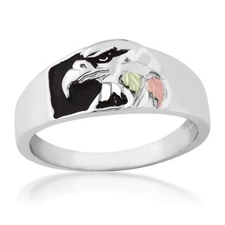Black Hills Gold on Sterling Silver Men's Eagle Ring
