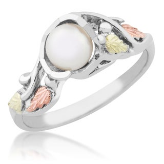 12k Black Hills Gold on Silver Tri-color Pearl Ring