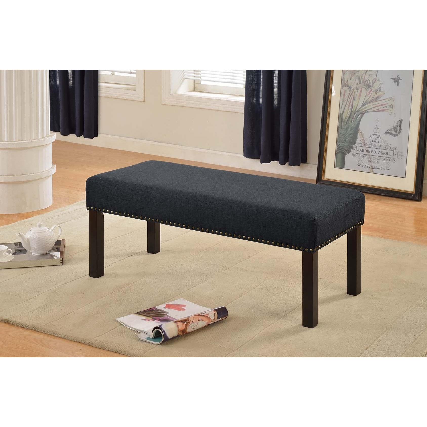 US Pride Furniture Alma Dark Grey Nail Trim Fabric Uphols...