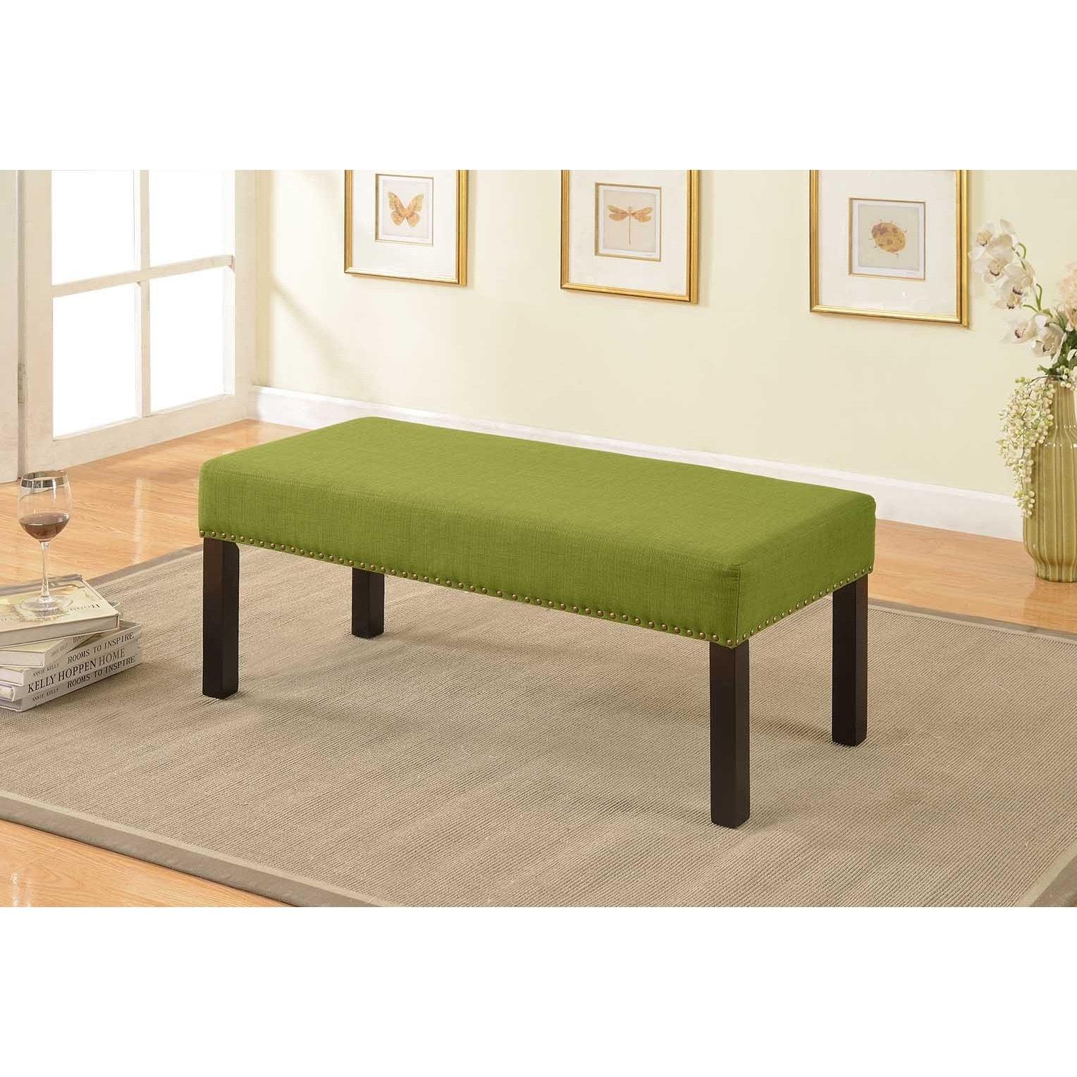 US Pride Furniture Alma Green Nail Trim Fabric Upholstere...