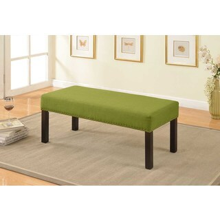 Alma Green Nail Trim Fabric Upholstered Decorative Bench