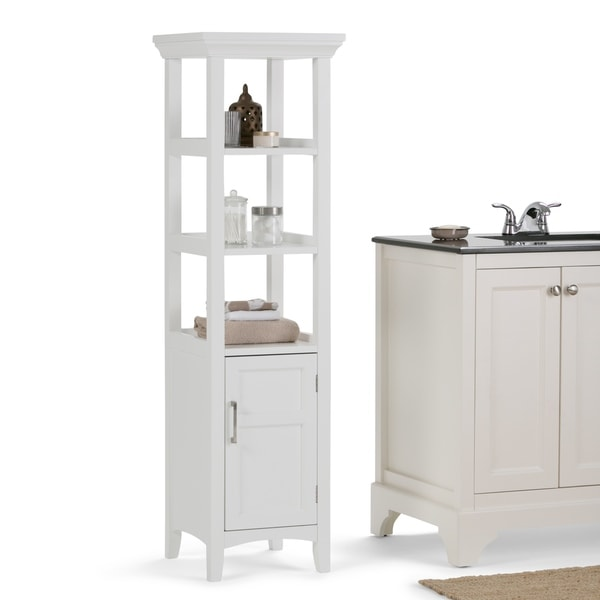 white bathroom storage tower shop wyndenhall bath storage tower in white free 21452