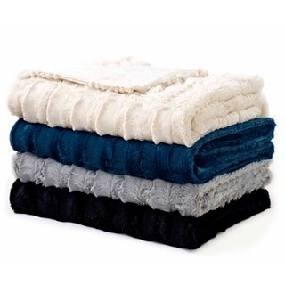 Luxe Embossed Faux-Fur Throw