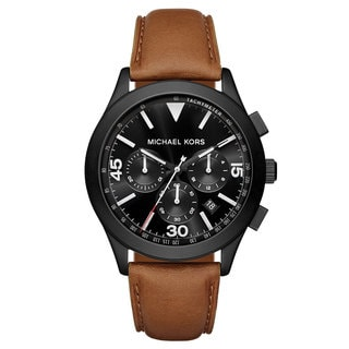 Michael Kors Men's MK8450 Gareth Chronograph Black Dial Brown Leather Watch