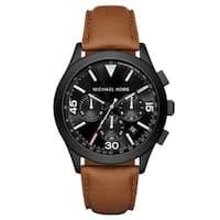 Michael Kors Men's  Gareth Chronograph Black Dial Brown Leather Watch