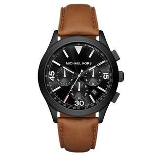 Michael Kors Men's MK8450 Gareth Chronograph Black Dial Brown Leather Watch