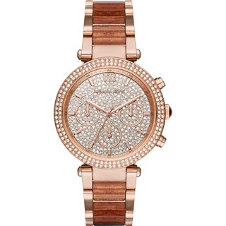Michael Kors Women's MK6285 Parker Chronograph Crystal Pave Dial Two-Tone Bracelet Watch