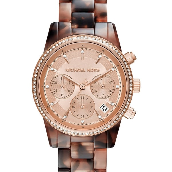Michael Kors Women's MK6280 Ritz Diamond Chronograph Rose-Tone Gold Dial Tortoise Acetate Bracelet Watch