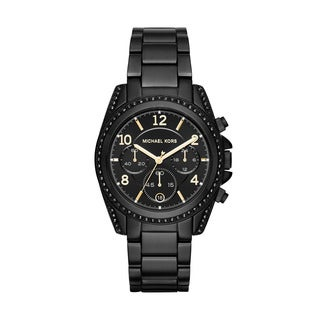 Michael Kors Women's MK6283 Blair Crystal Chronograph Black Dial Black Stainless Steel Bracelet Watch