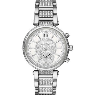 Michael Kors Women's MK6281 Sawyer Diamond Chronograph Silver-Tone Dial Stainless Steel Bracelet Watch
