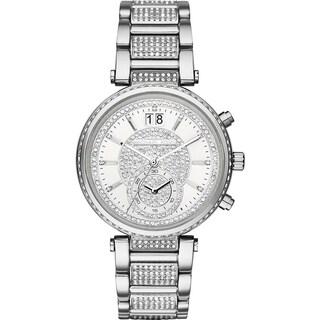 Michael Kors Women's MK6281 Sawyer Diamond Chronograph Silver-Tone Dial Stainless Steel Bracelet Watch