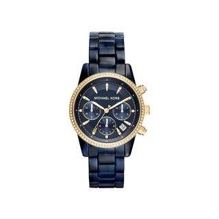 Michael Kors Women's MK6278 Ritz Diamond Chronograph Blue Dial Acetate Bracelet Watch