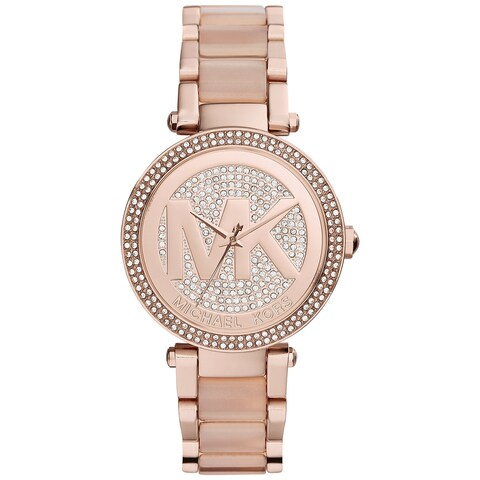 Michael Kors Women's Parker Crystal Pave Dial Stainless Steel Bracelet Watch - PInk