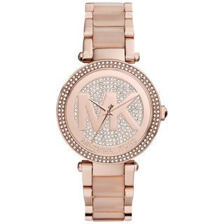 Michael Kors Women's MK6176 Parker Crystal Pave Dial Stainless Steel Bracelet Watch - PInk